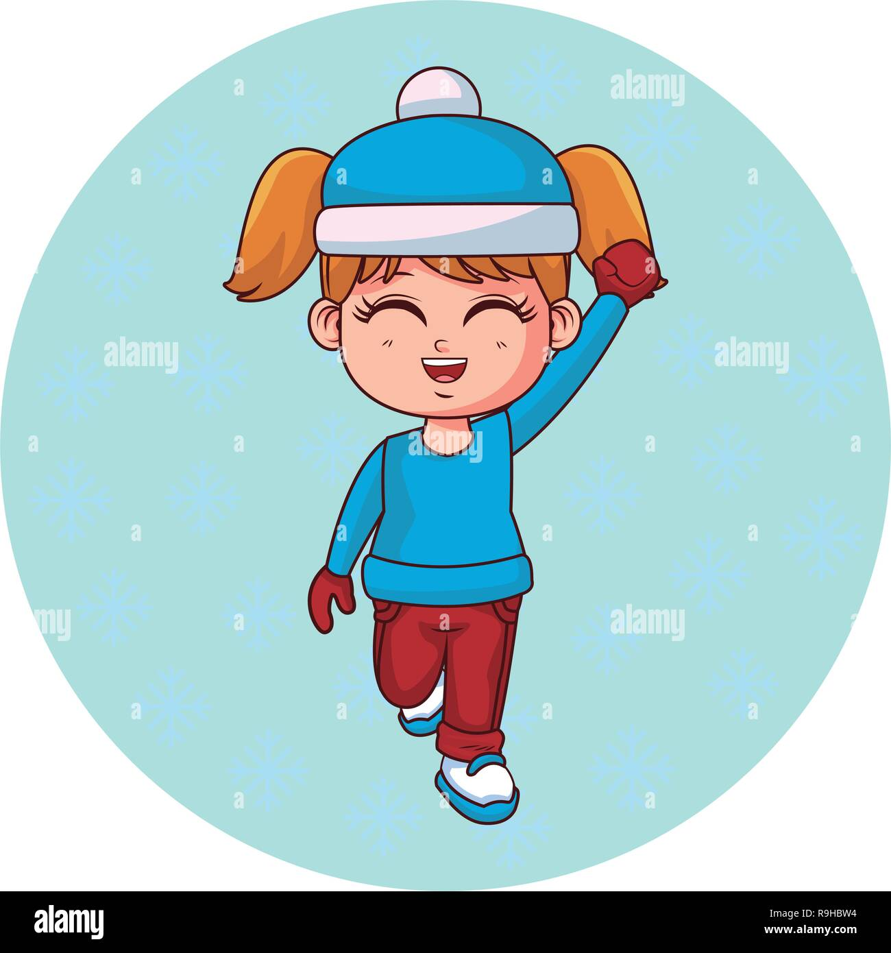 6910998bbb4c7 Girl with winter clothes cartoon Stock Vector Art   Illustration ...