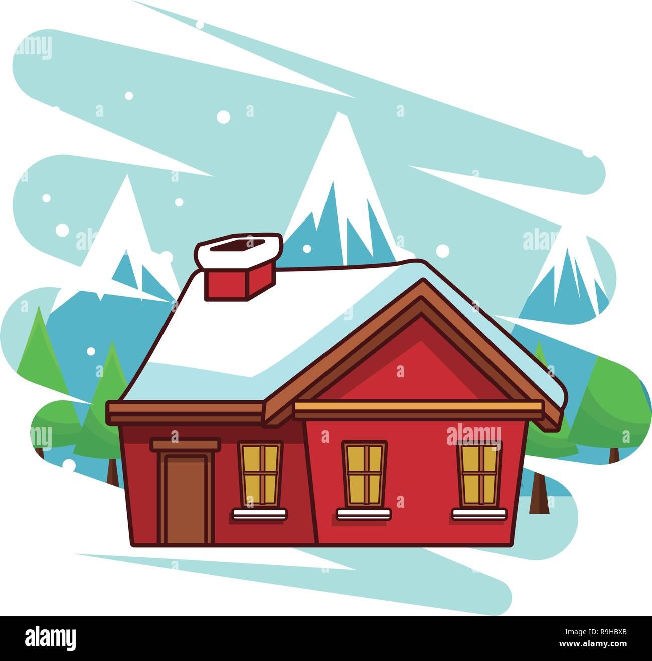 Winter House Cartoon Stock Vector Image Art Alamy