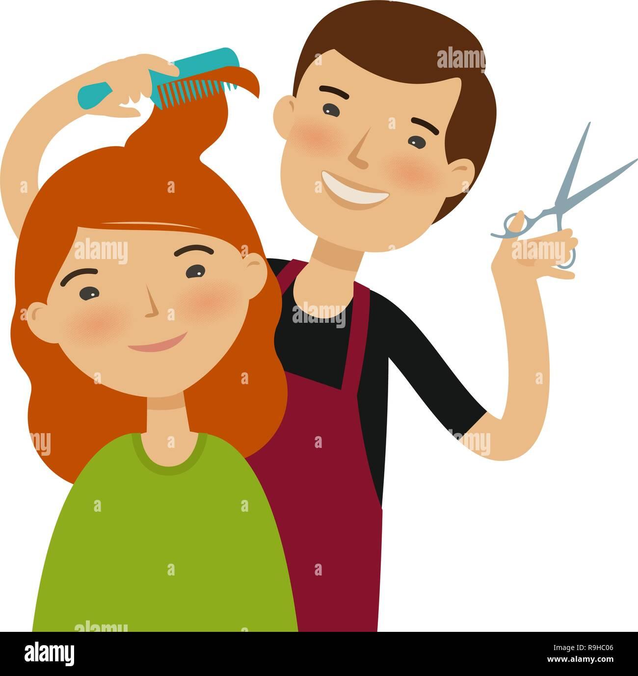 cartoon hair haircut cutting illustration funny hairstylist vector beauty concept saloon alamy fashion comic