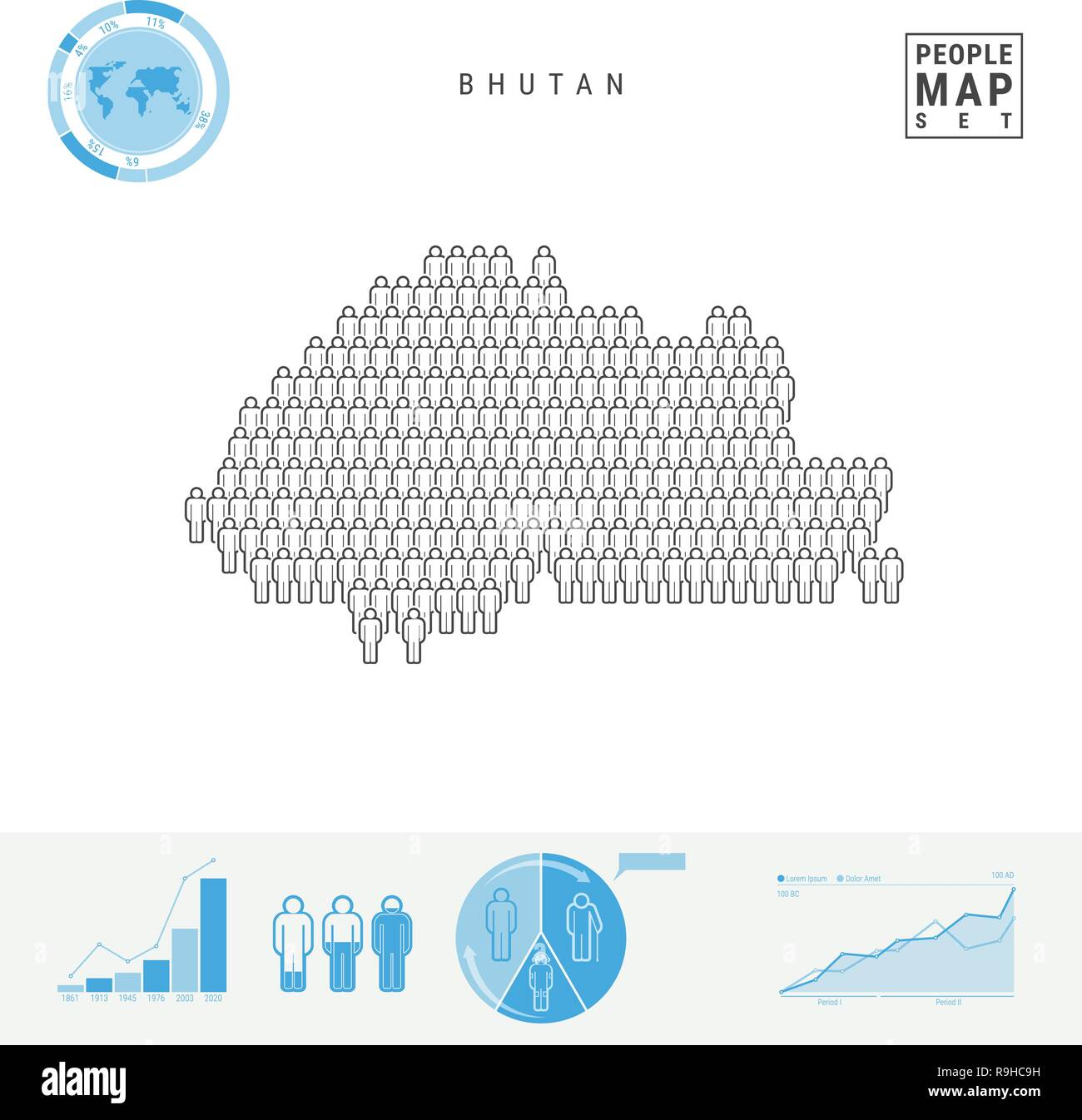 Bhutan People Icon Map. People Crowd in the Shape of a Map of Bhutan. Stylized Silhouette of Bhutan. Population Growth and Aging Infographic Elements. - Stock Vector