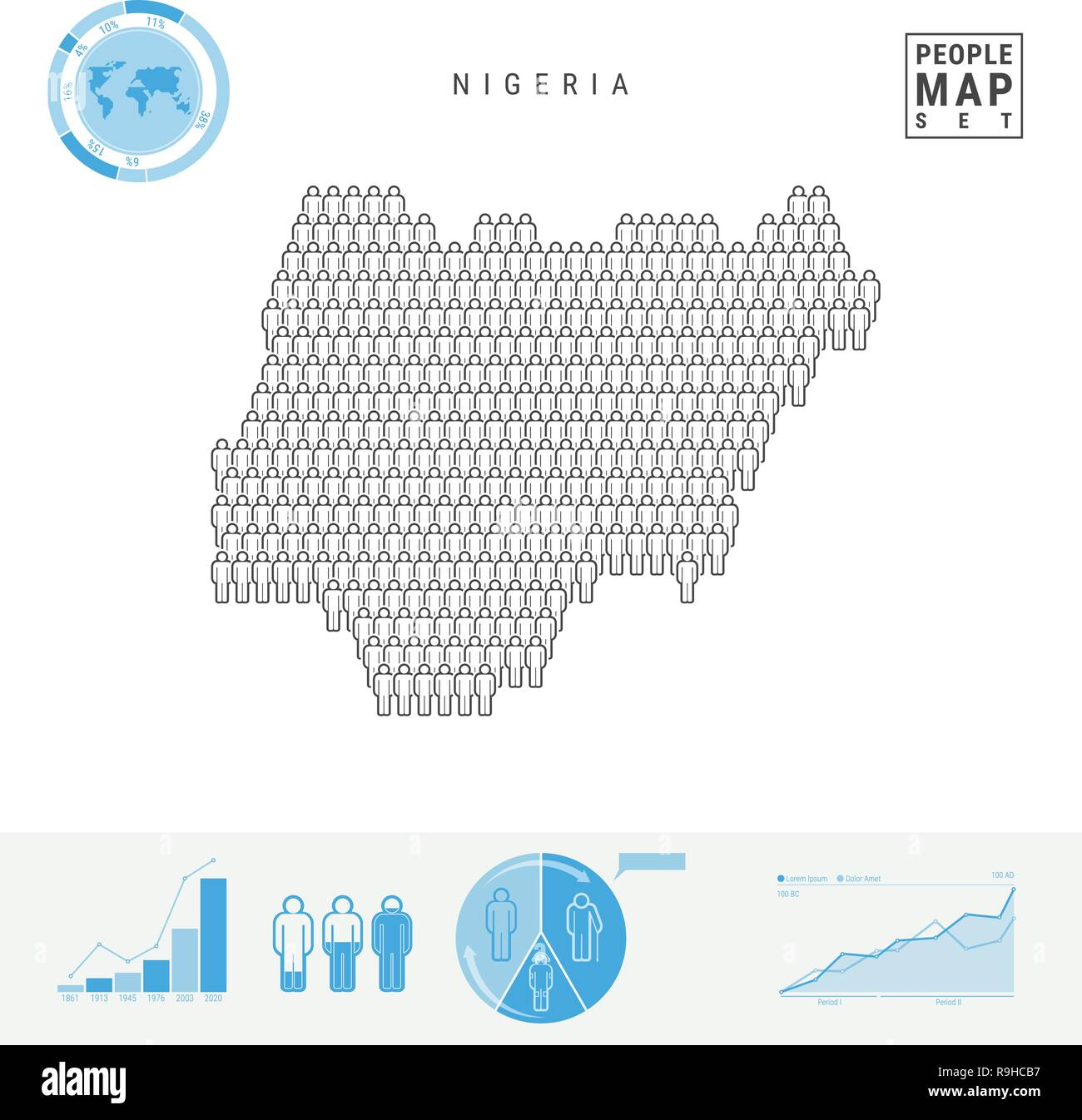 Nigeria People Icon Map. People Crowd in the Shape of a Map of Nigeria. Stylized Silhouette of Nigeria. Population Growth and Aging Infographic Elemen - Stock Vector