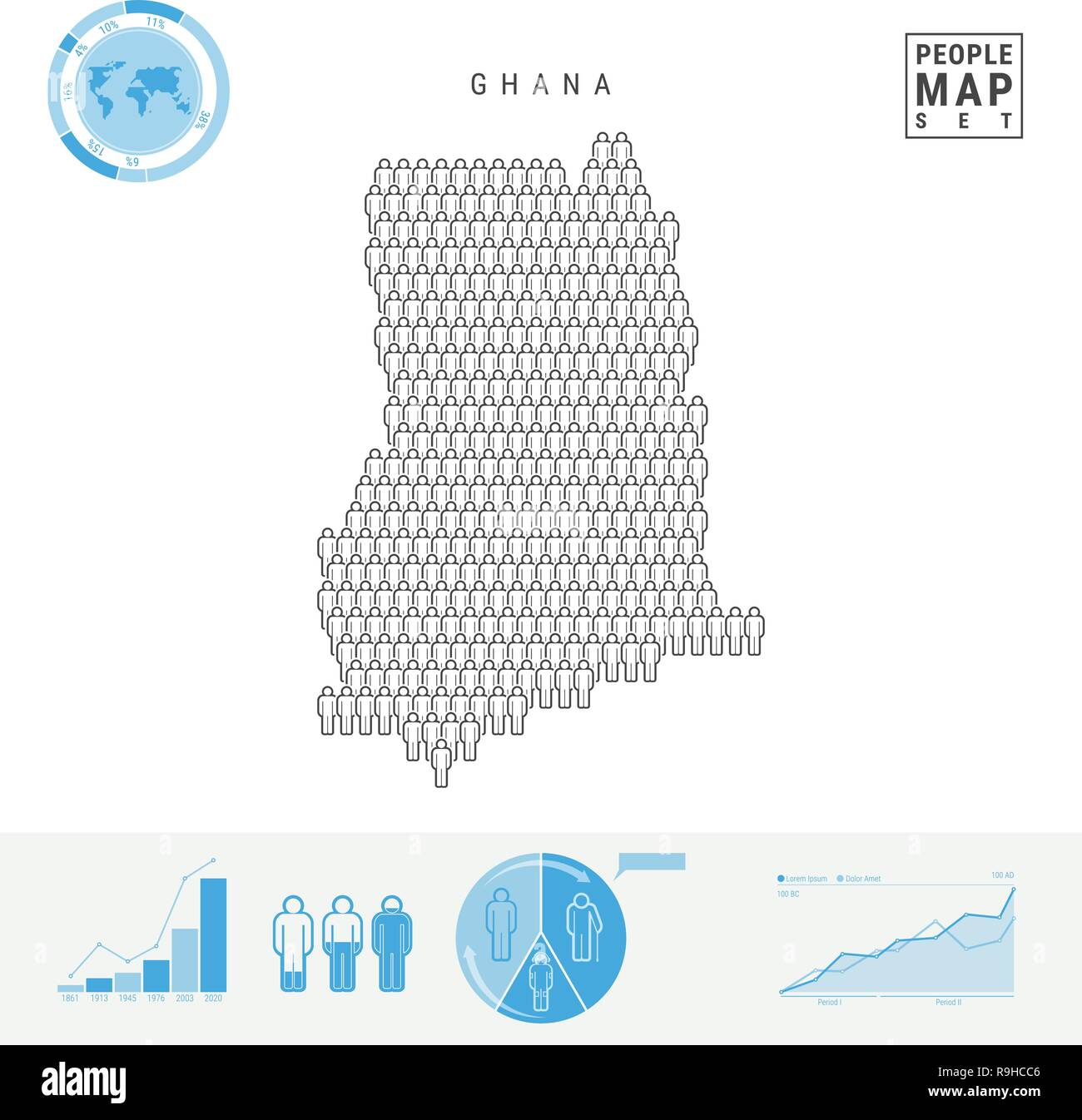 Ghana People Icon Map. People Crowd in the Shape of a Map of Ghana. Stylized Silhouette of Ghana. Population Growth and Aging Infographic Elements. Ve - Stock Vector
