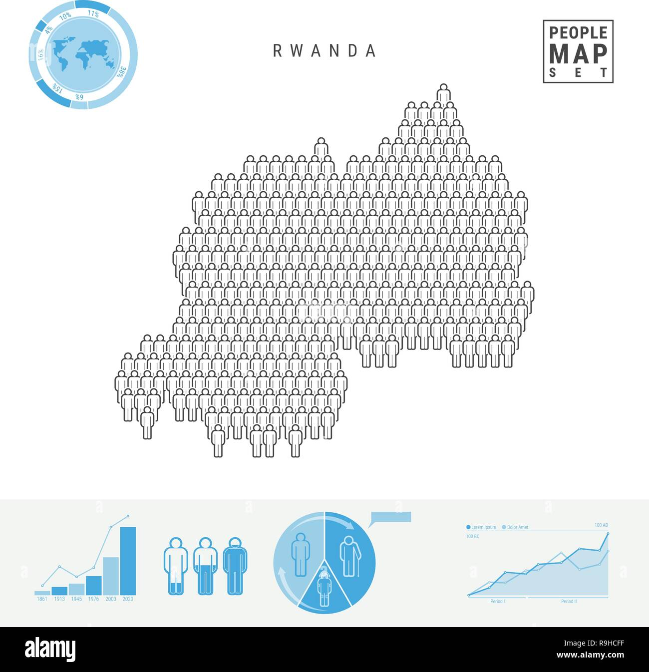 Rwanda People Icon Map. People Crowd in the Shape of a Map of Rwanda. Stylized Silhouette of Rwanda. Population Growth and Aging Infographic Elements. - Stock Vector