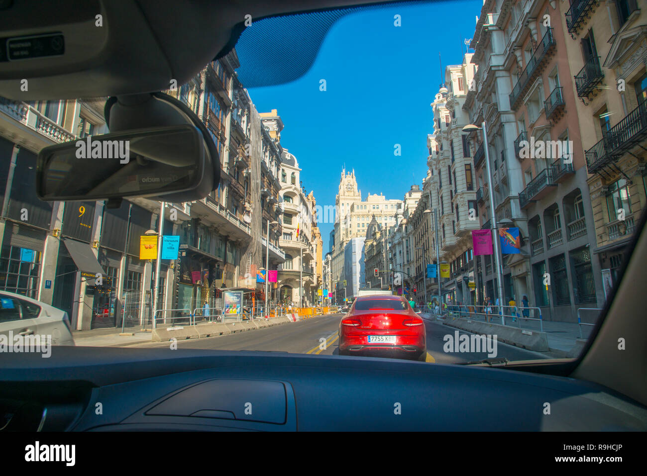 Gran Via street viewed from inside a car. Madrid, Spain. Stock Photo