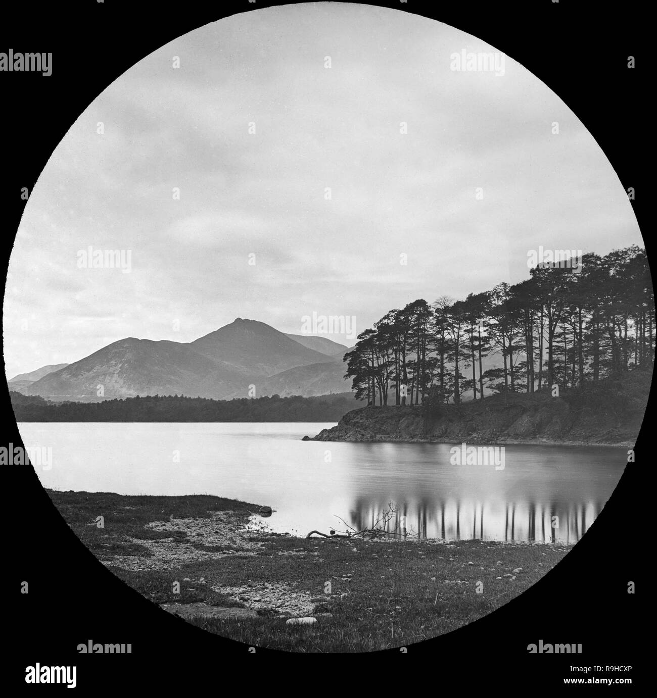 A late Victorian black and white photograph of Friar's Crag, a promontory jutting out into Derwentwater in the Lake District National Park in Cumbria, England. Stock Photo