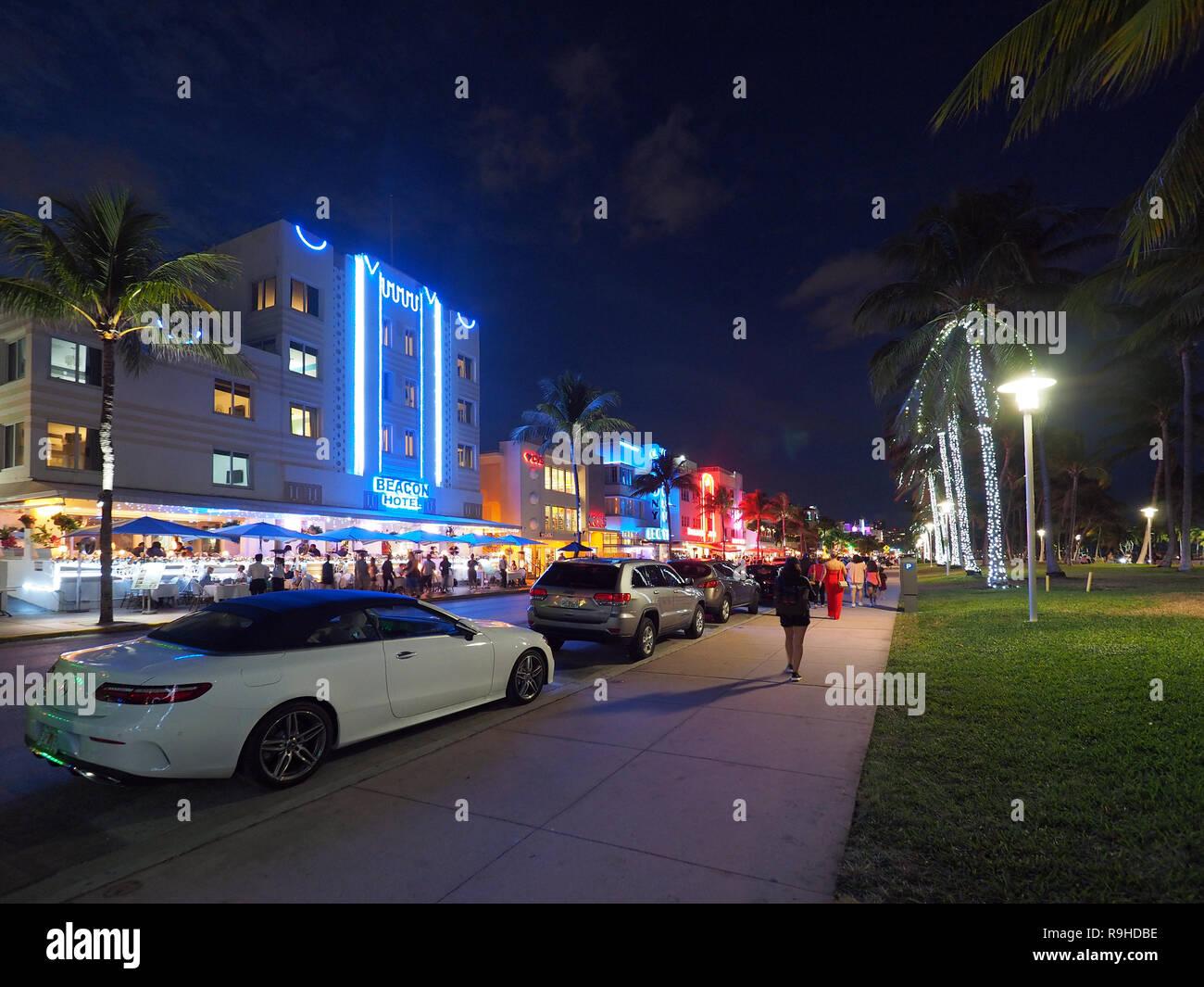 Miami Beach, Florida 12-19-2018 The Miami Beach Art Deco District and Ocean Drive at night. - Stock Image