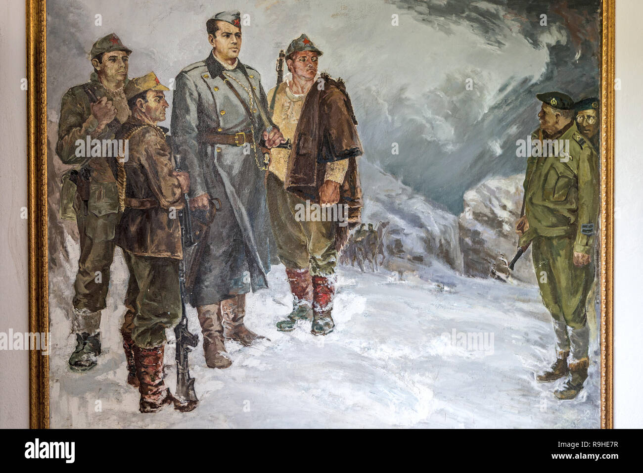 Enver Hoxha with communist colleagues meeting British & American soldiers  Communist era paintings by Robert Permeti Tirana Albania. Ex Officer in Alb - Stock Image