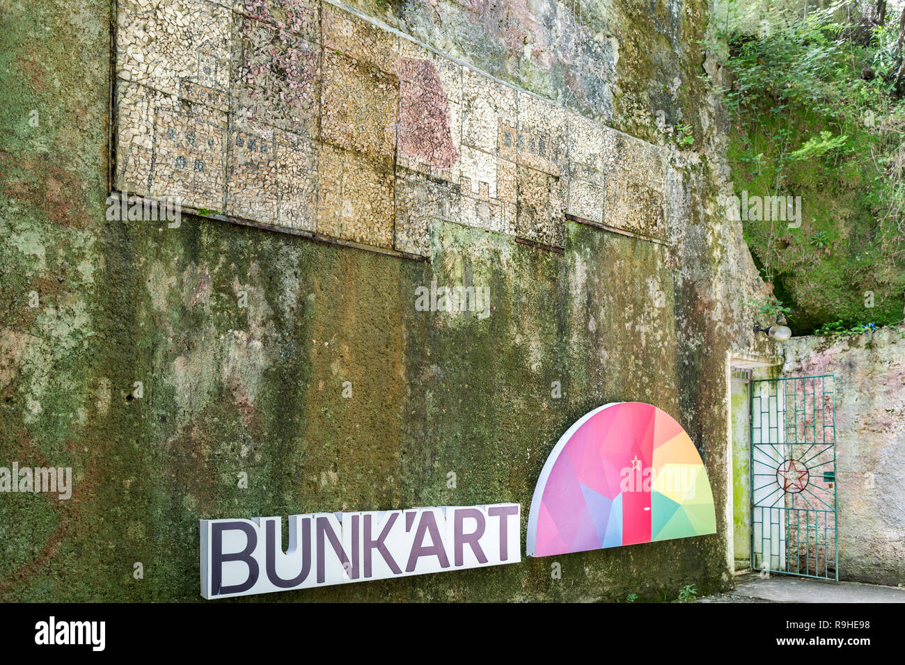 Entrance Bunk'Art nuclear bunker Tirana Albania - Stock Image