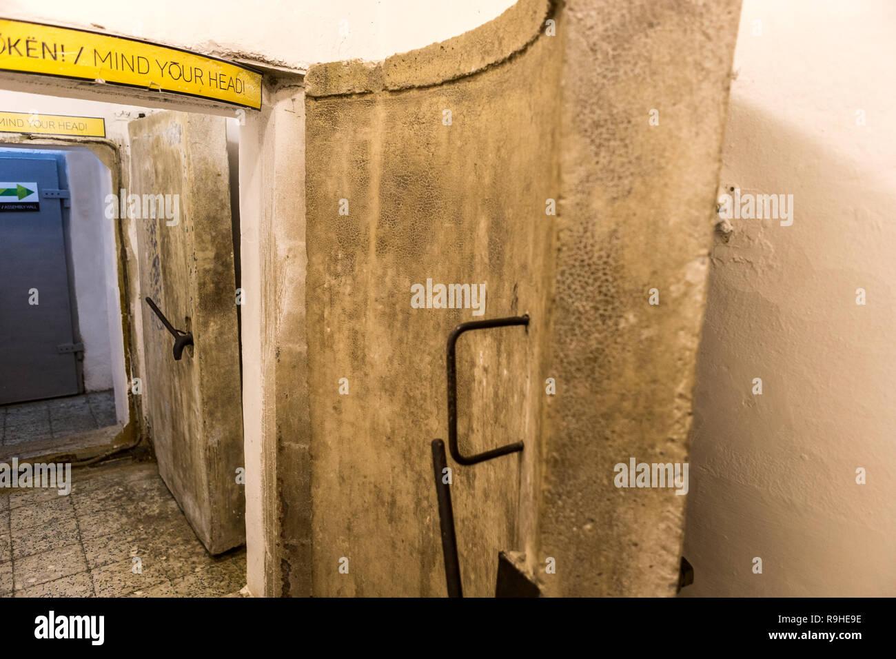 Concrete doors Bunk'Art nuclear bunker Tirana Albania - Stock Image