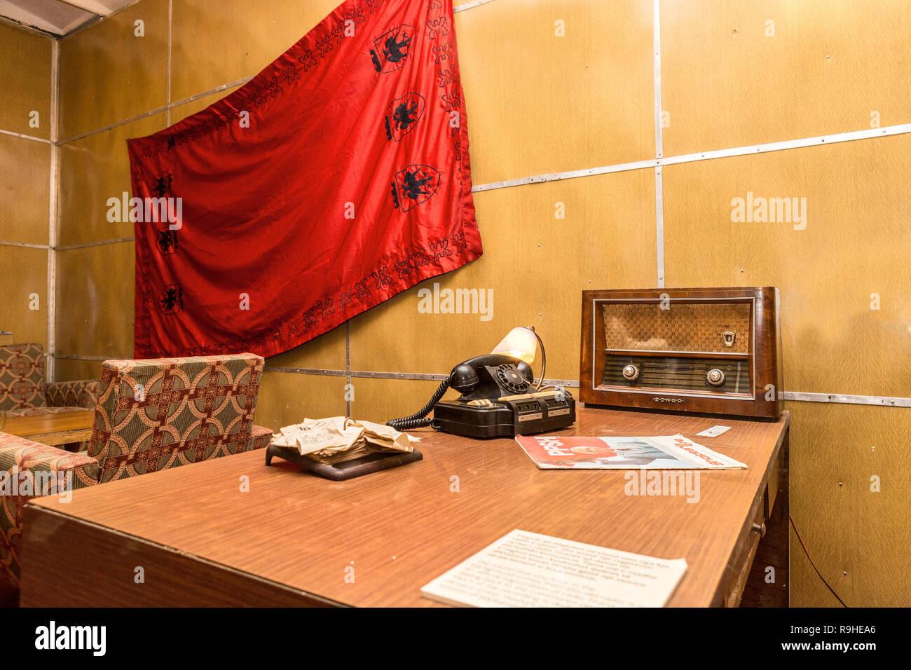 Offices Bunk'Art nuclear bunker Tirana Albania - Stock Image
