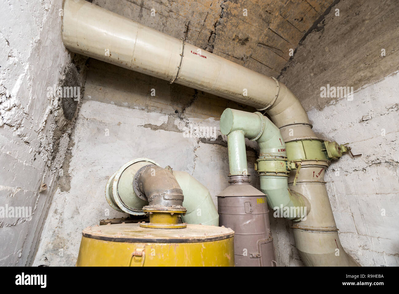 Ventilation filter room Bunk'Art nuclear bunker Tirana Albania - Stock Image