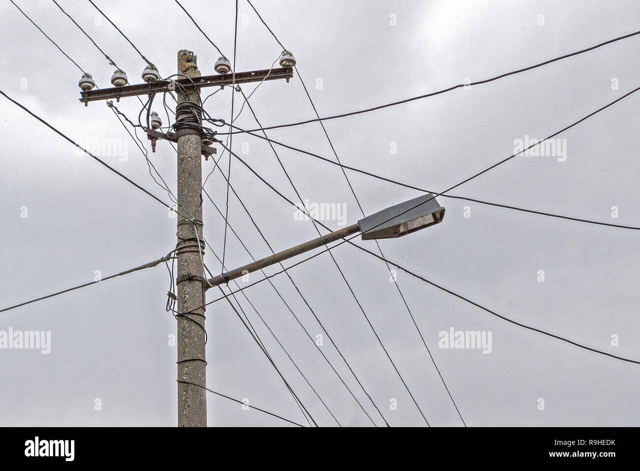 Electric Telephone Stock Photos Images Wiring Sky Box Dual Use Of Pole For Wires Street Light Village Albania Image