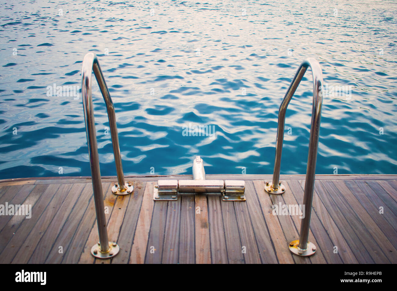 View Of The Yachts Gangway Against The Azure Sea Relax Swimming