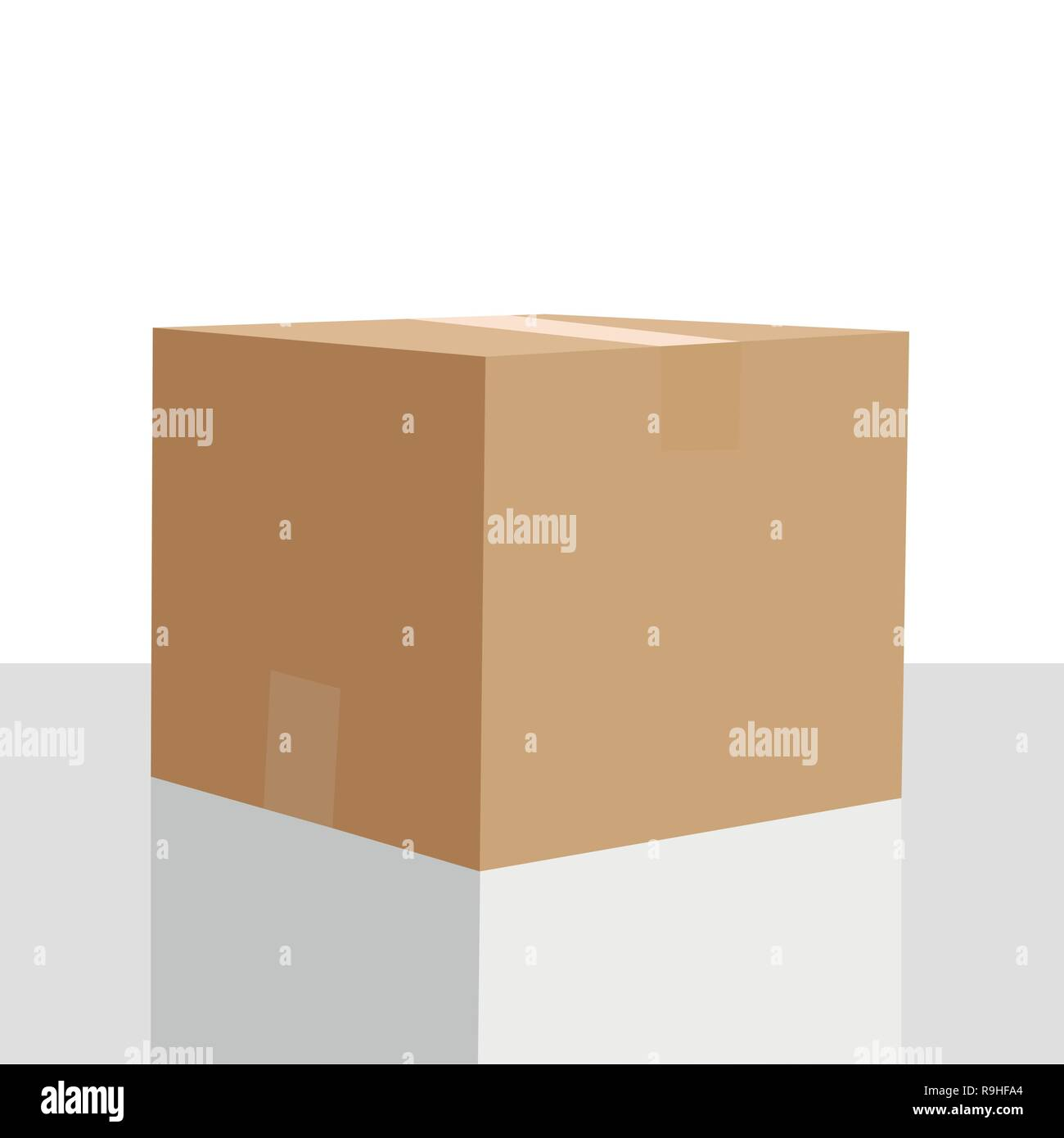 Empty closed box mockup, post container for goods delivery and storage, packaging design. Parcel with adhesive tape isometric icon vector isolated. - Stock Vector