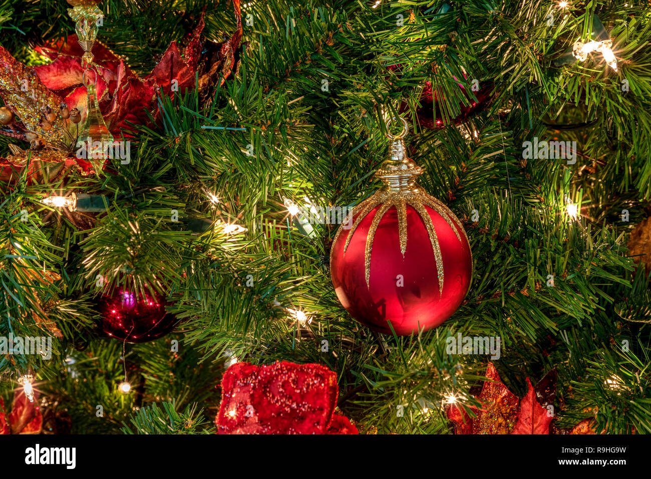 Christmas Tree Bows Red.Red And Green Ornaments On A Christmas Tree With White