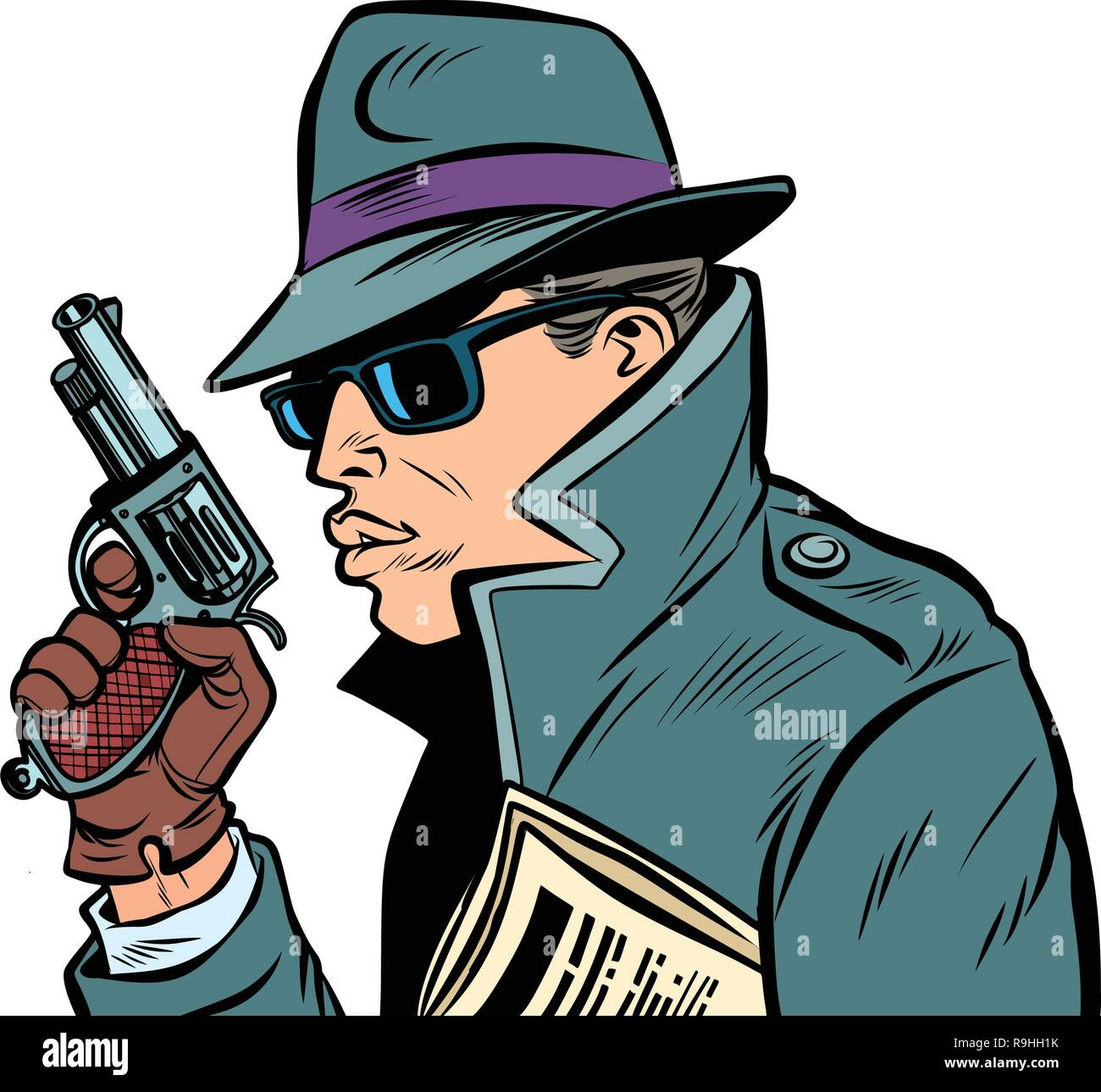 gun spy, secret agent Stock Vector