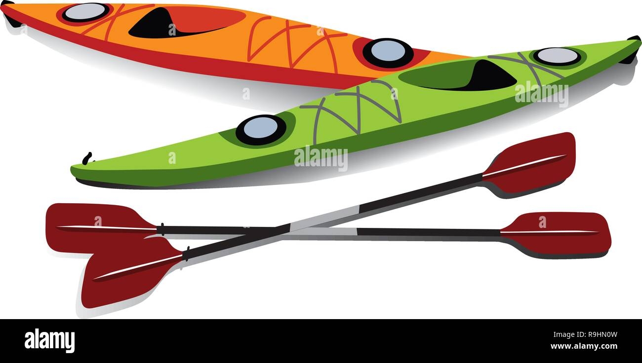 Flat illustration of two kayaks with oars on shore - Stock Vector