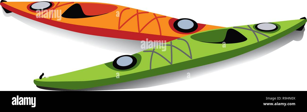 Flat illustration of two kayaks on the shore - Stock Vector