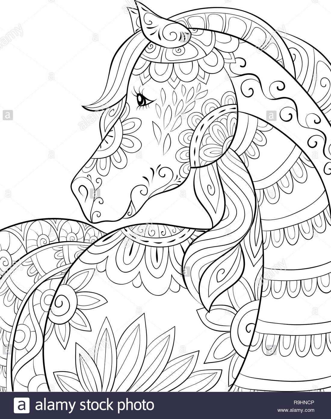 A cute unicorn with ornaments image for relaxing activity.A coloring ...