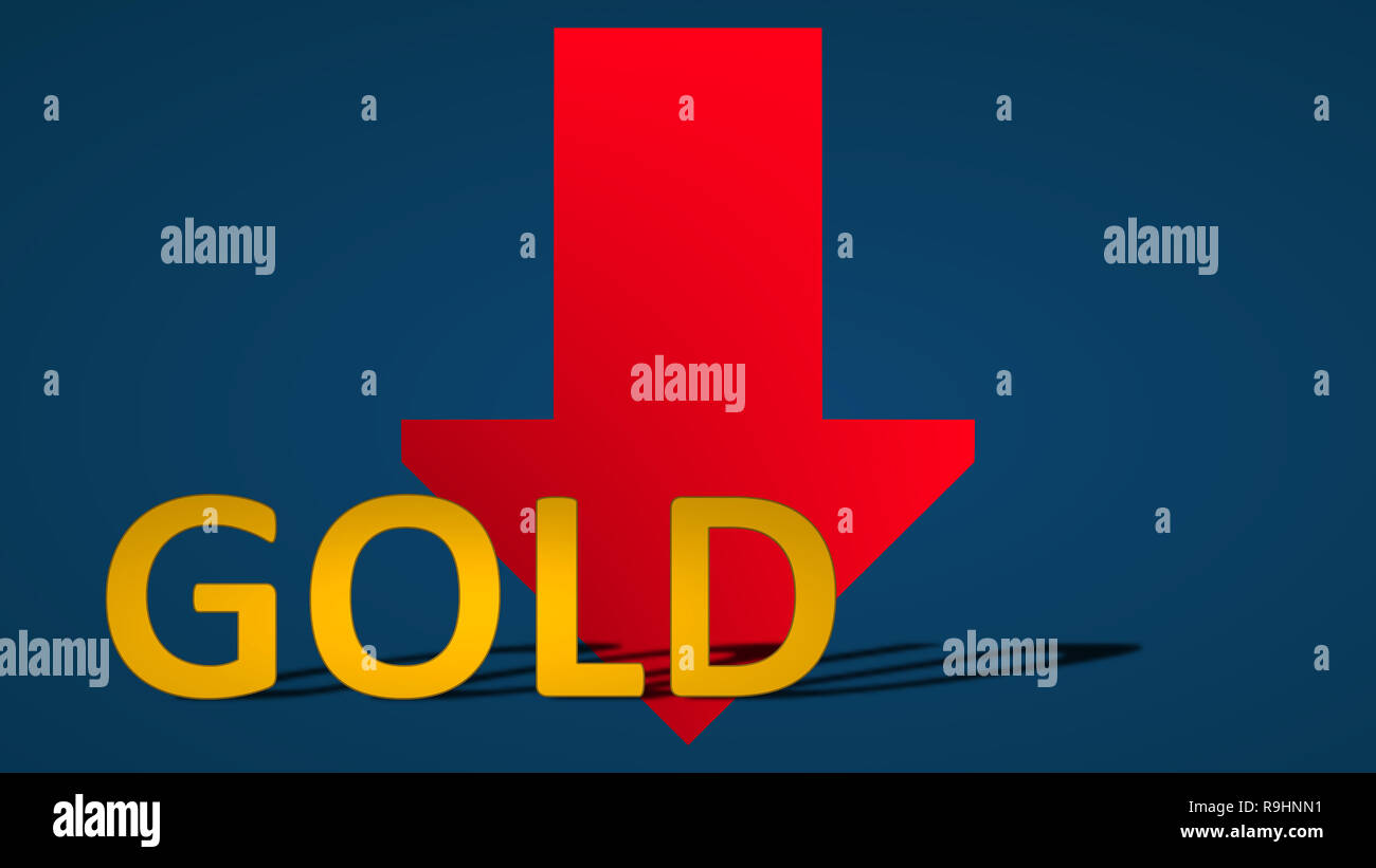 The price of the commodity gold is falling. The red arrow behind the word gold is showing downwards on a blue background and symbolizes the fall or... - Stock Image