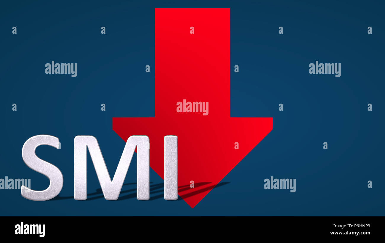 The Swiss Market Index (SMI), Switzerland's blue-chip stock market index is falling. The red arrow behind the SMI label is showing downwards on a blue... - Stock Image