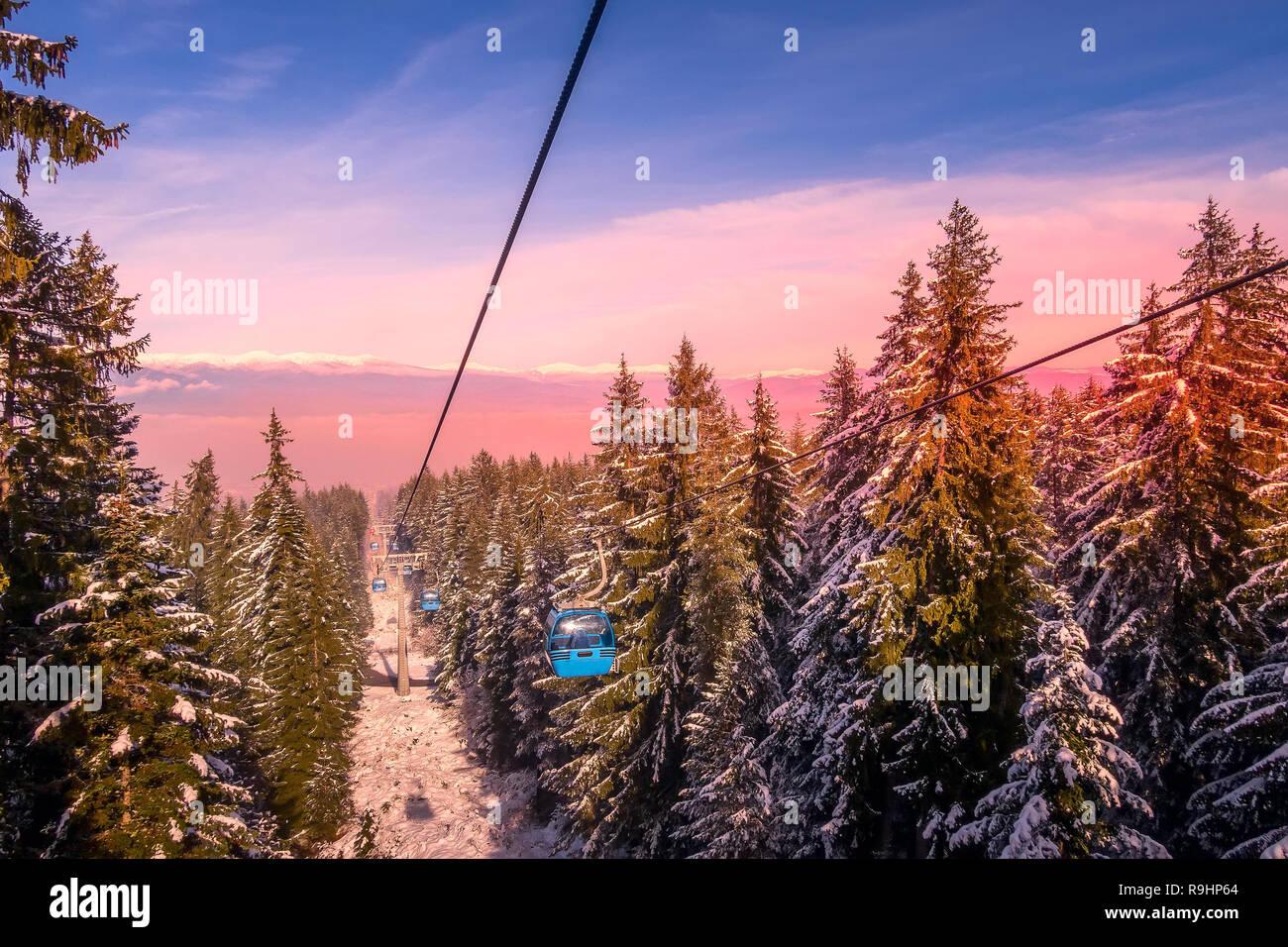 Bansko Bulgaria Winter Ski Resort Pink Sunset View Lift