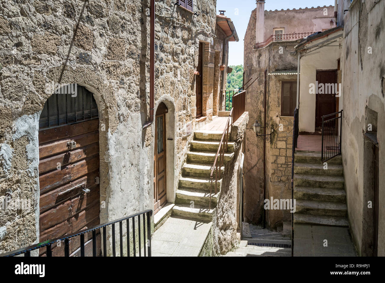 Romantic streets of Pitigliano old town. Medieval village in the fortress at Grosseto province, Italy. - Stock Image