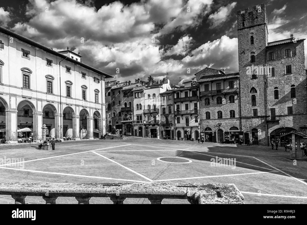 Beautiful black and white view of piazza grande arezzo tuscany italy