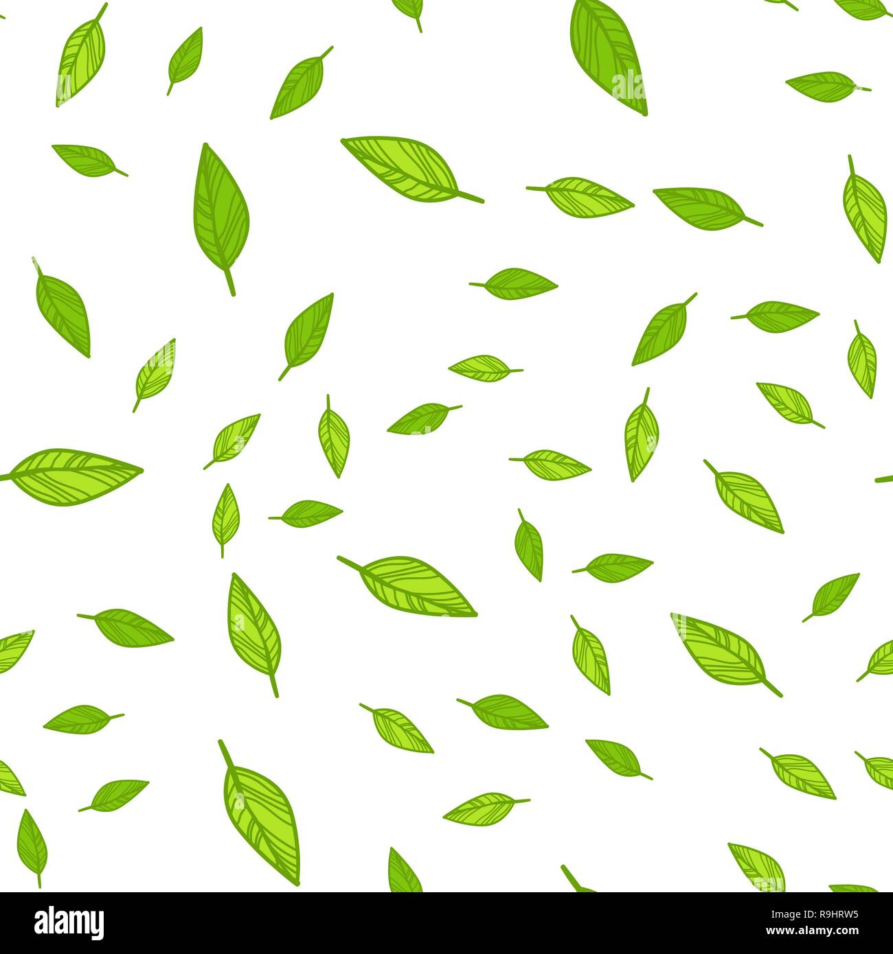 Seamless Pattern Of Green Leaves Doodle Vector Illustration On White Background Stock Vector Image Art Alamy
