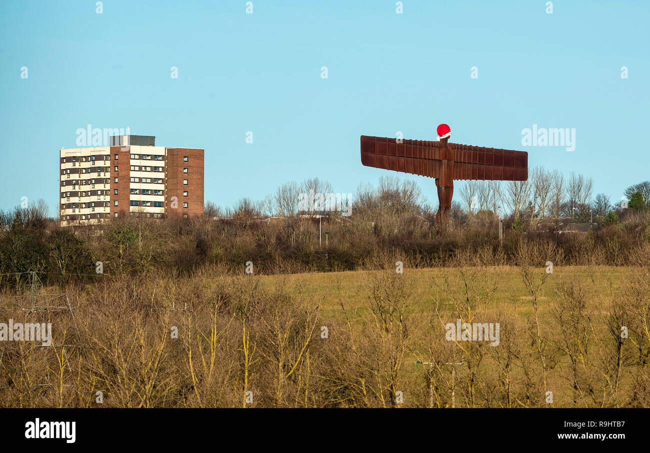 717aaee0d2147 A Santa hat on the 20 metres tall steel sculpture  Angel of the North