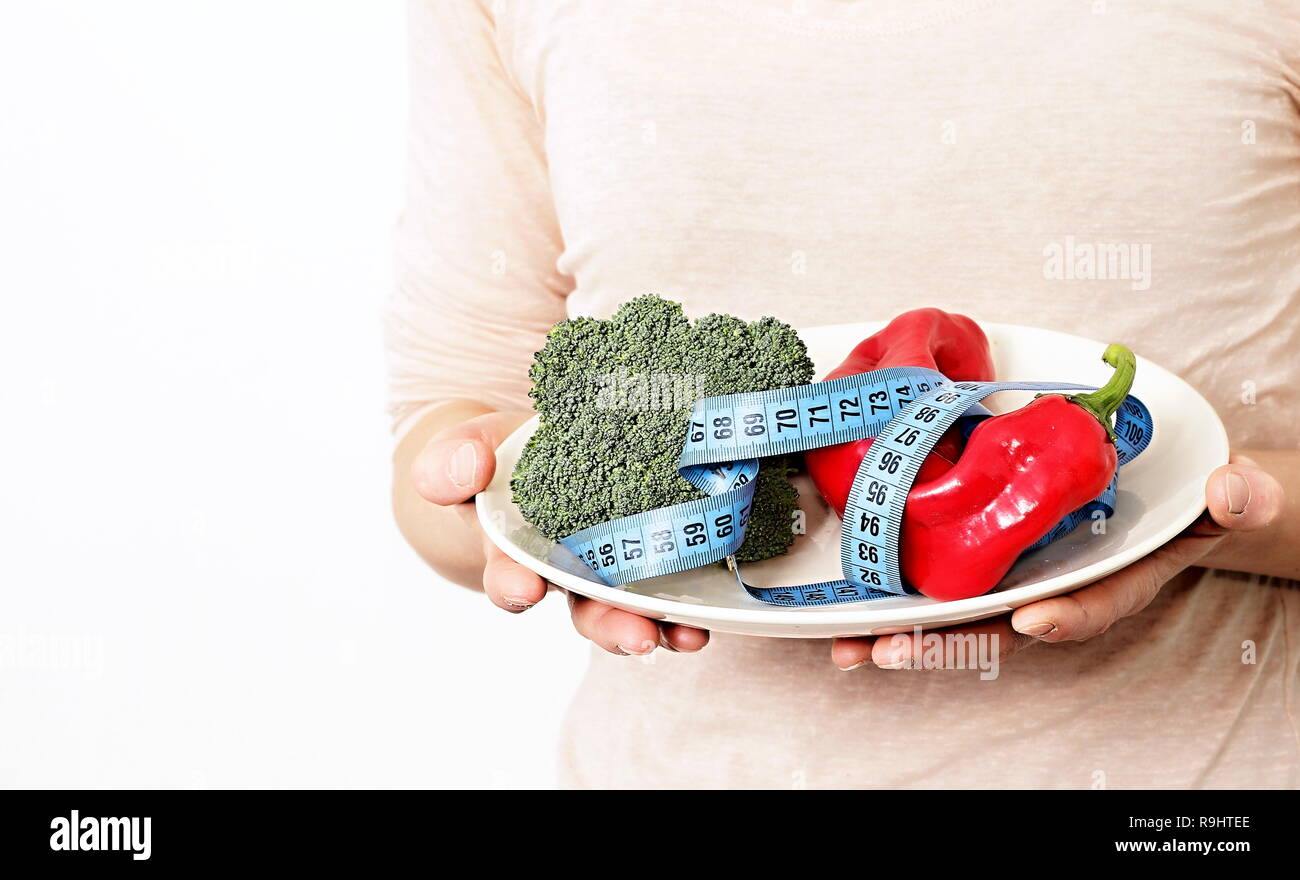 Phenomenal Healthy Vegetables On The Plate With Tape Measure Download Free Architecture Designs Scobabritishbridgeorg