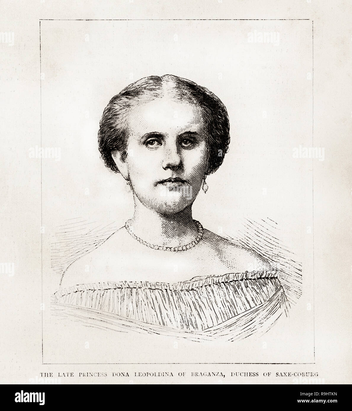 Engraving of Princess Leopoldina of Brazil from The Graphic newspaper march 1871 - Stock Image