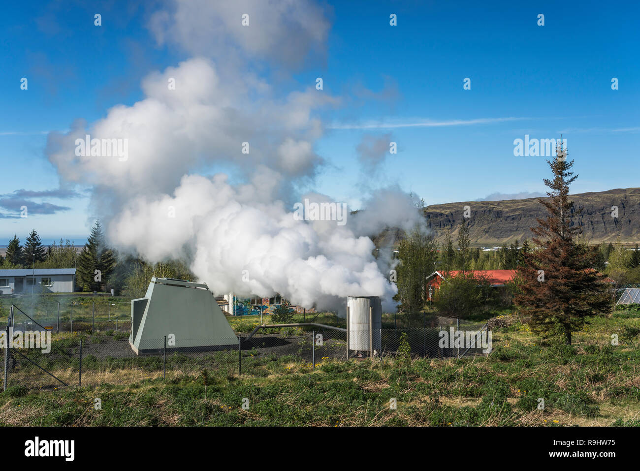 Steam vents in a geothermal area near Selfoss, southern Iceland, Europe. - Stock Image