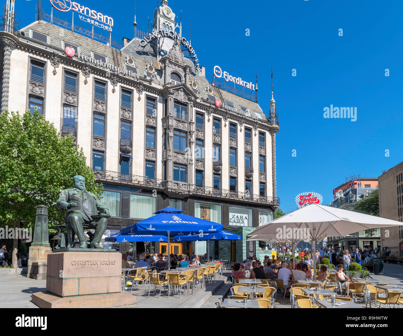 Joe the Juice cafe on the corner of Lille Grensen and Karl Johans Gate in the city centre, Oslo, Norway - Stock Image