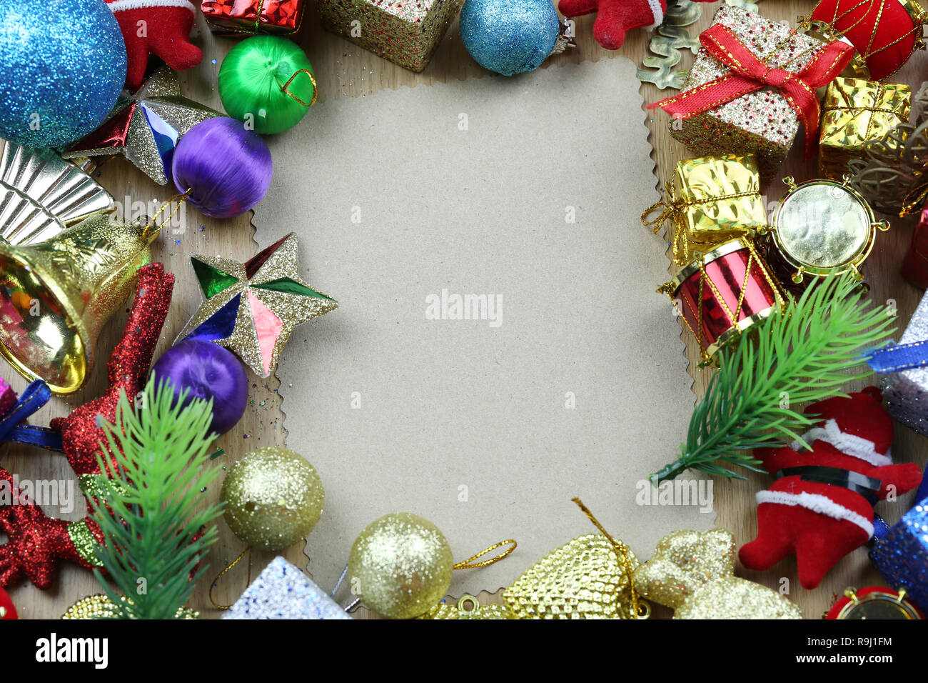 Christmas Decorations And Blank Vintage Paper For Design In Your