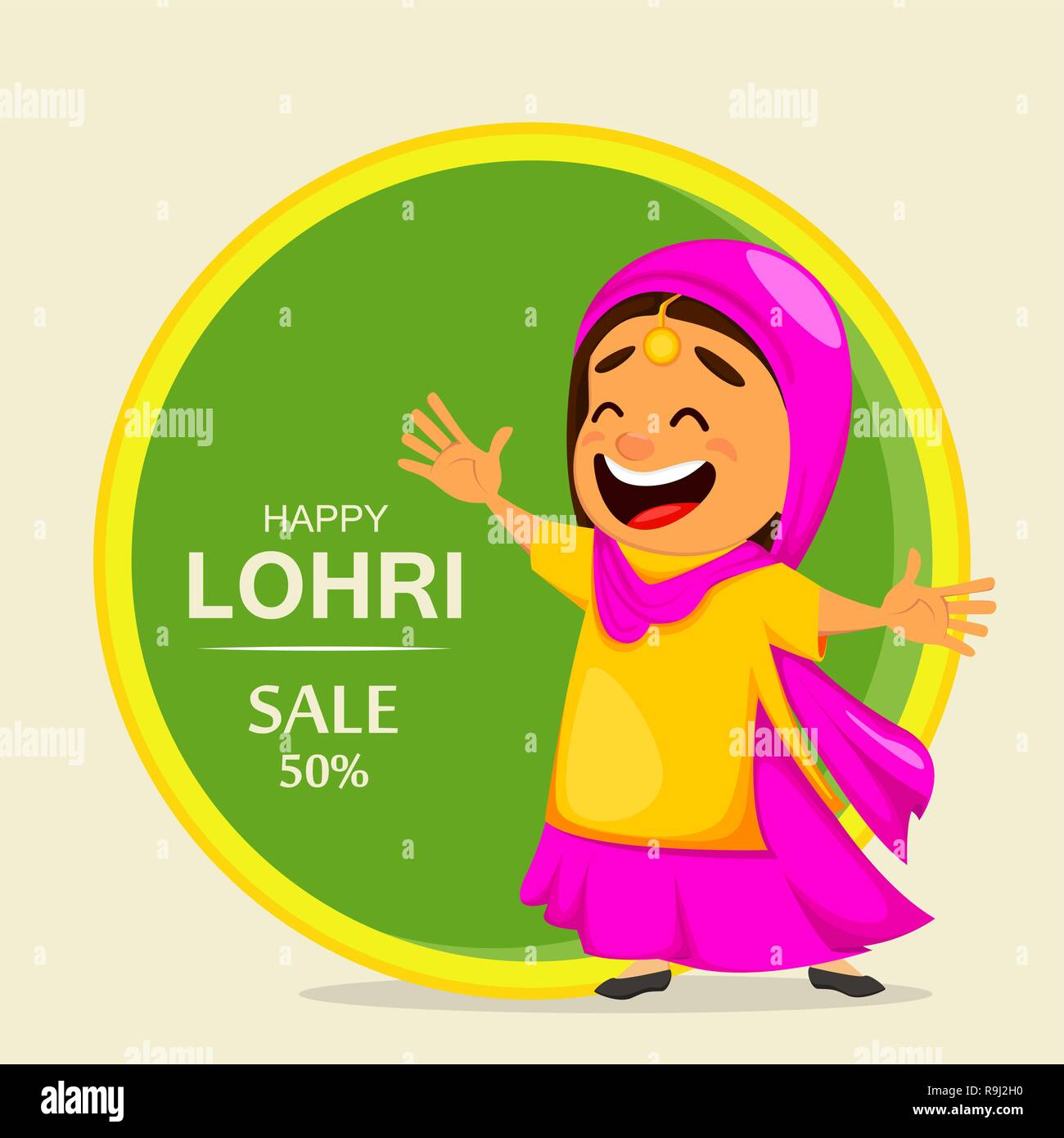 Popular winter Punjabi folk festival Lohri. Funny Indian woman celebrating holiday. Cartoon character dancing. Vector illustration for sale - Stock Vector