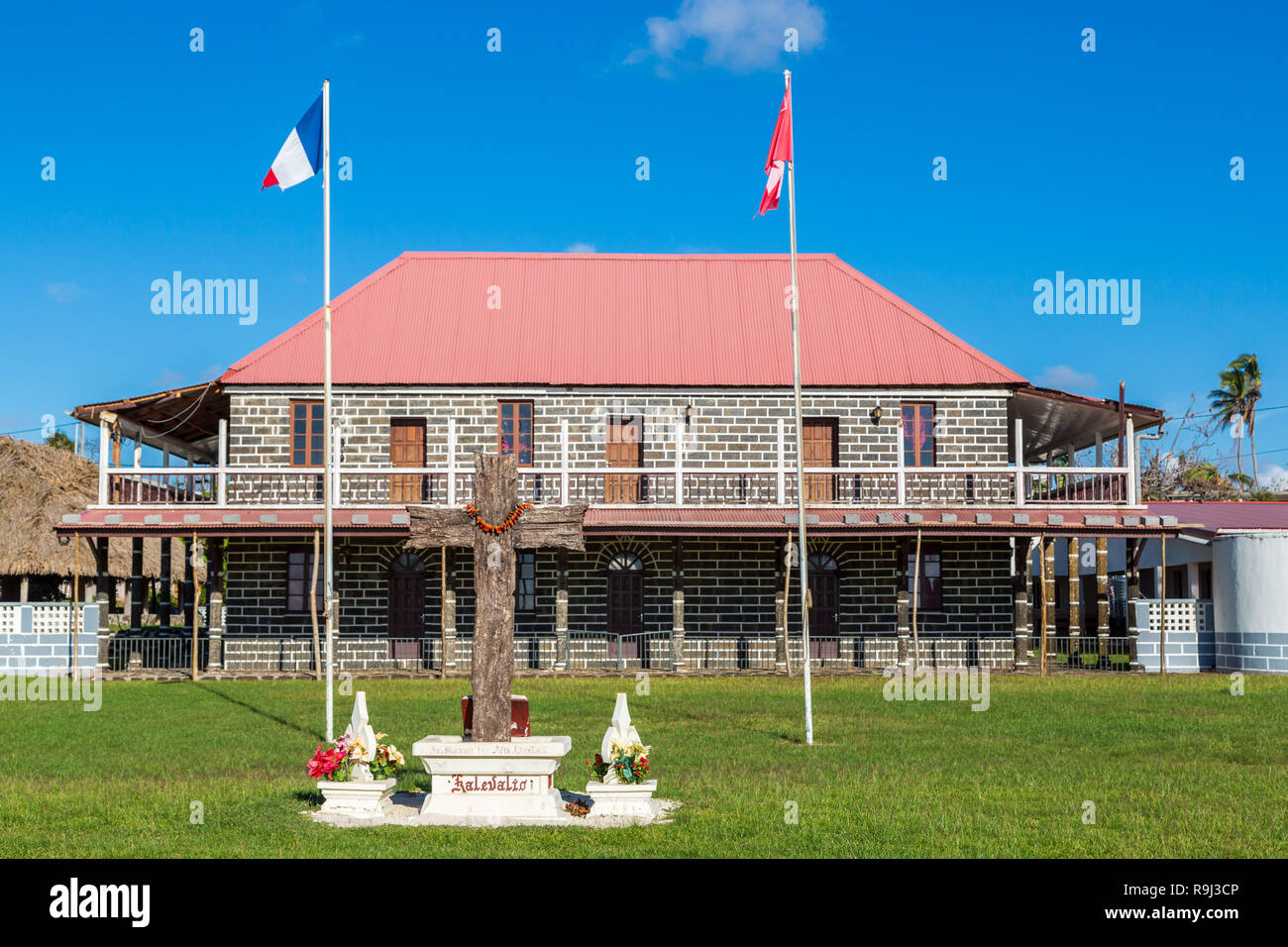 Mata-Utu, Wallis and Futuna - Jan 5 2013: Customary King's Palace in the capital of territory of Wallis-et-Futuna, French overseas island collectivity - Stock Image