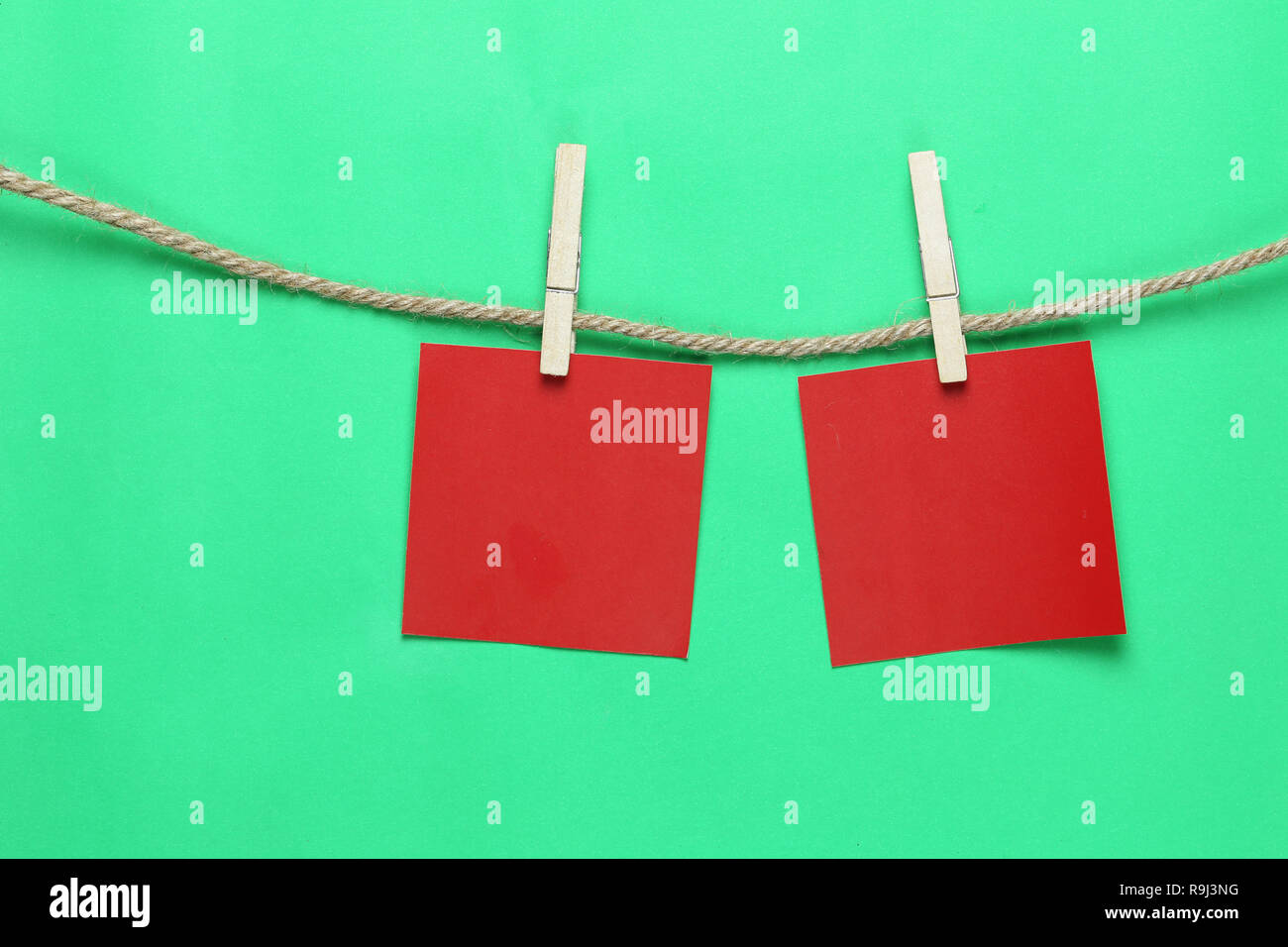 Red Paper Note Hang On Hemp Rope And Have Copy Space For Design In Your Work Concept Stock Photo Alamy