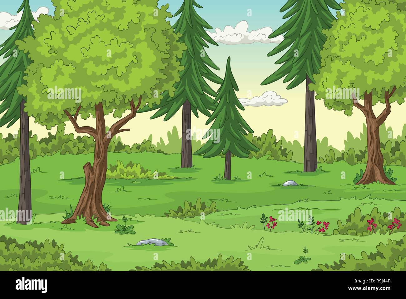 Forest Landscape With Trees Hand Draw Illustration Stock Vector Image Art Alamy
