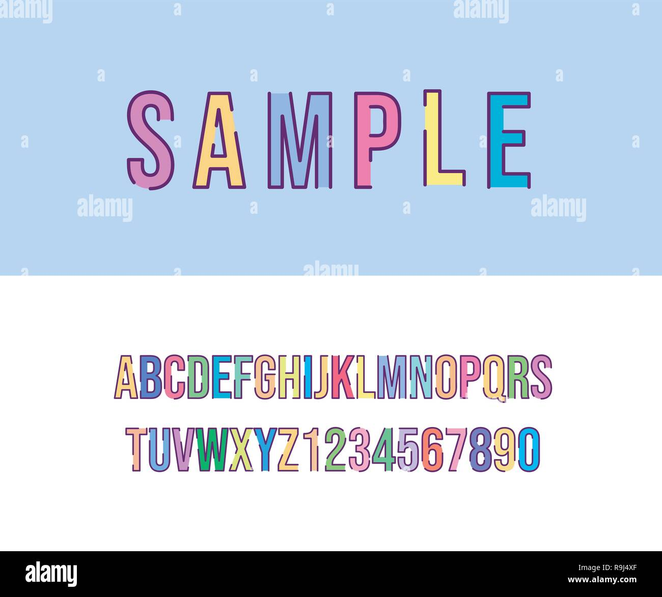 Vector of modern alphabet letters and numbers  Latin letters