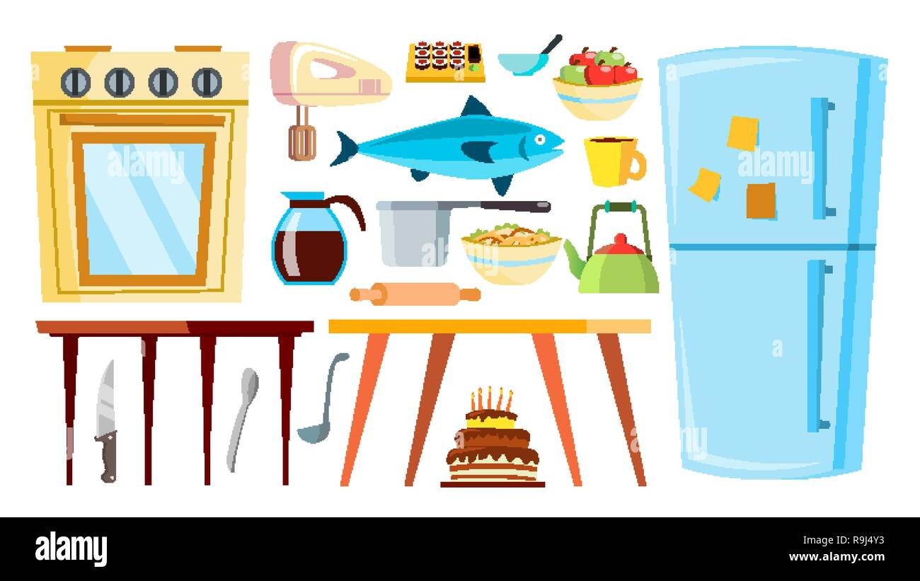 Kitchen Items Vector Refrigerator Table Food Tableware Objects Isolated Cartoon Illustration Stock Vector Image Art Alamy