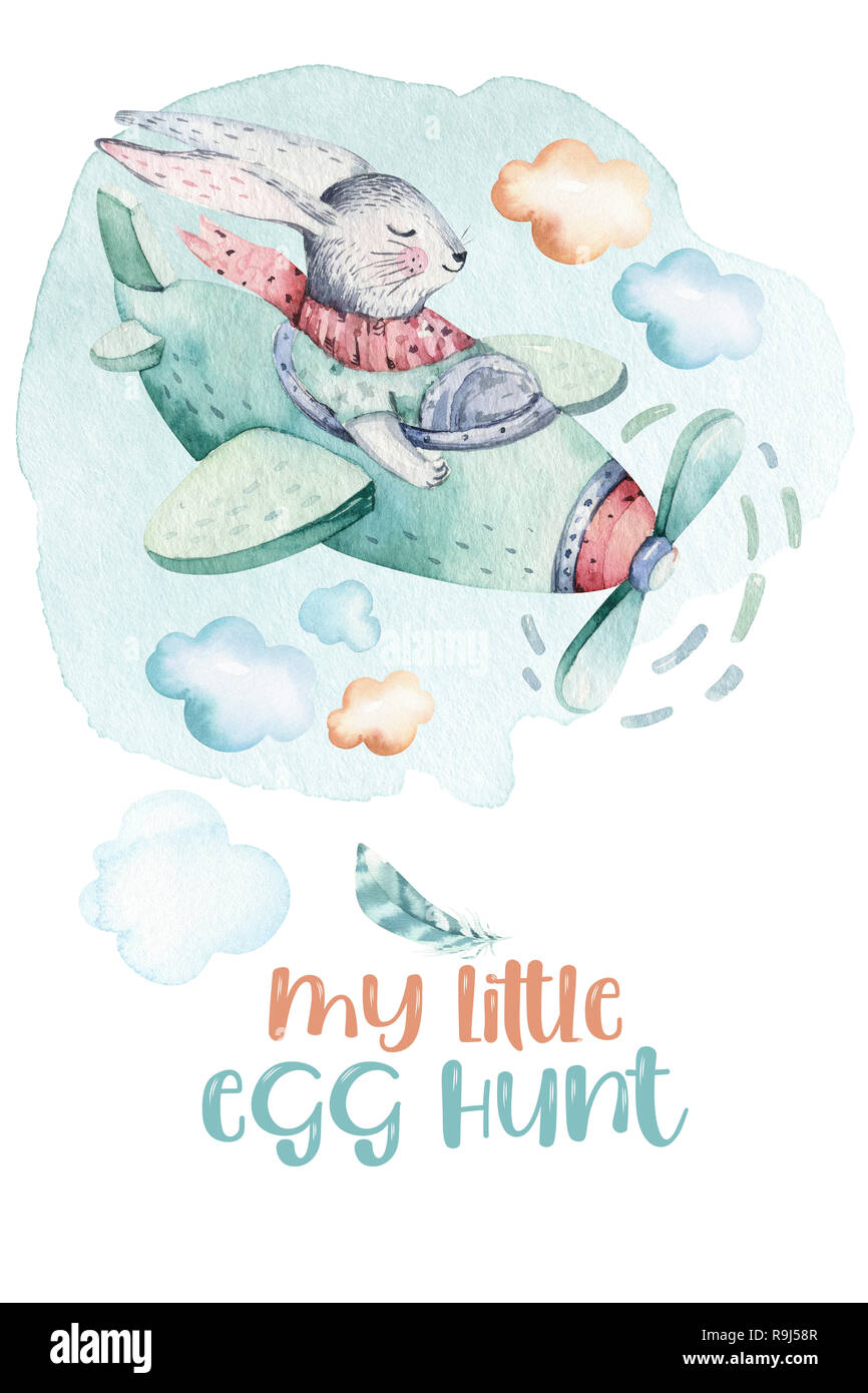 Hand Drawing Fly Cute Easter Pilot Bunny Watercolor Cartoon Bunnies With Airplane Turquoise Watercolour Animal Rabbit Art Flight Illustration Stock Photo Alamy