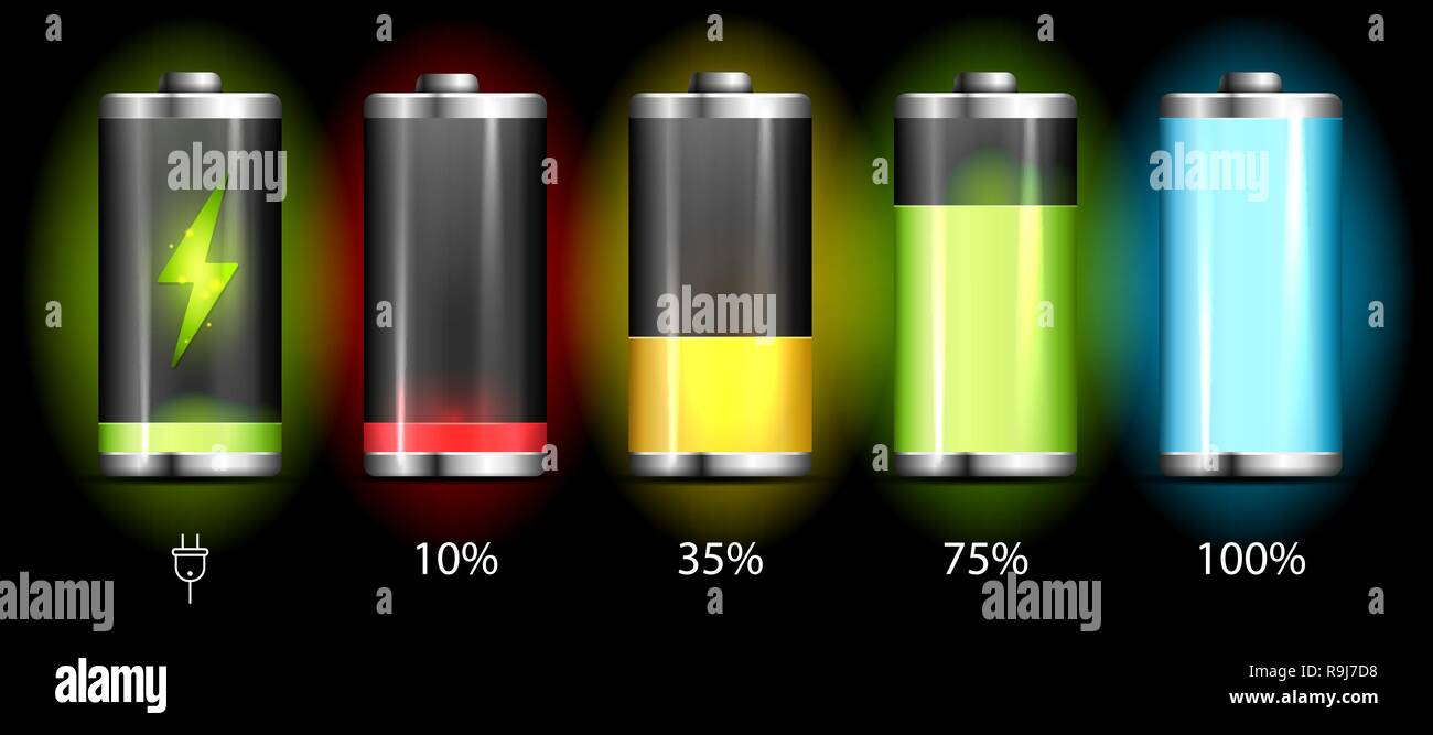 Realistic discharged and fully charged battery smartphone - vector infographic - Stock Vector