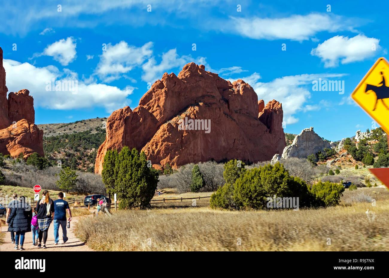 COLORADO SPRINGS,AMERICA - NOVEMBER 04, 2017:A panorama of Garden of the Gods in Colorado Springs,America. - Stock Image