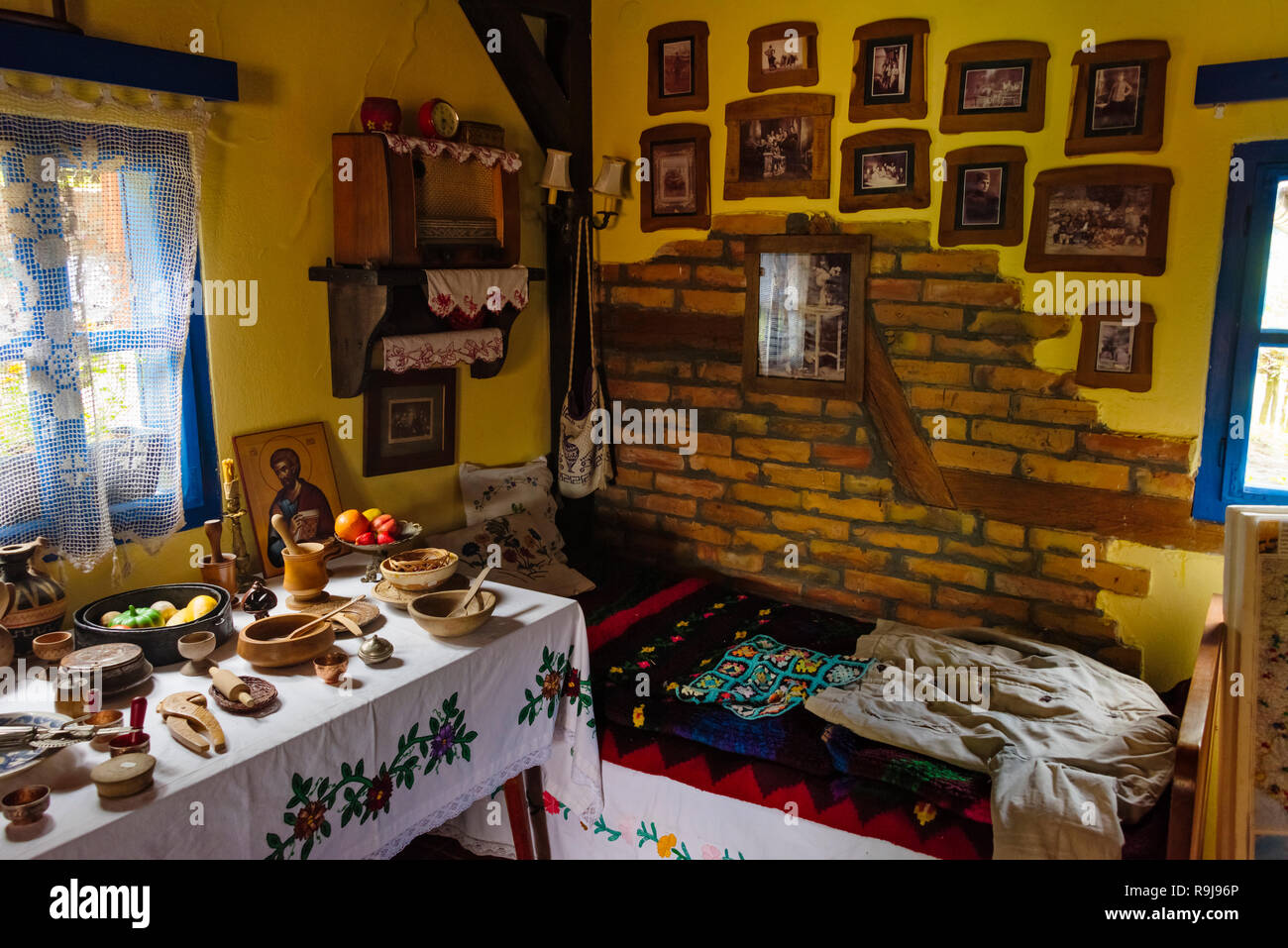 Inside a house, Terzica Avlija village, an open-air museum of ethno village, Zlakusa, Serbia - Stock Image