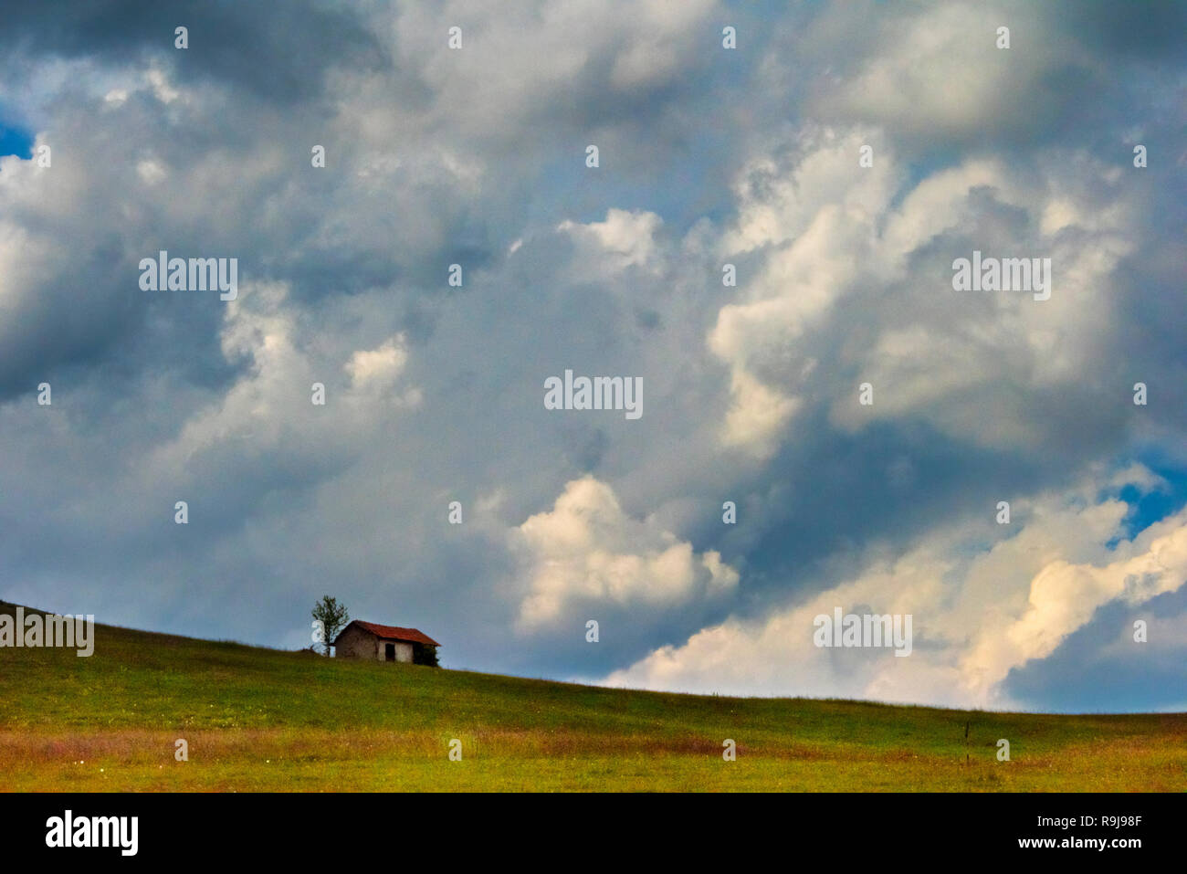 A little farm house on the slope of Mount Zlatibor, Serbia - Stock Image