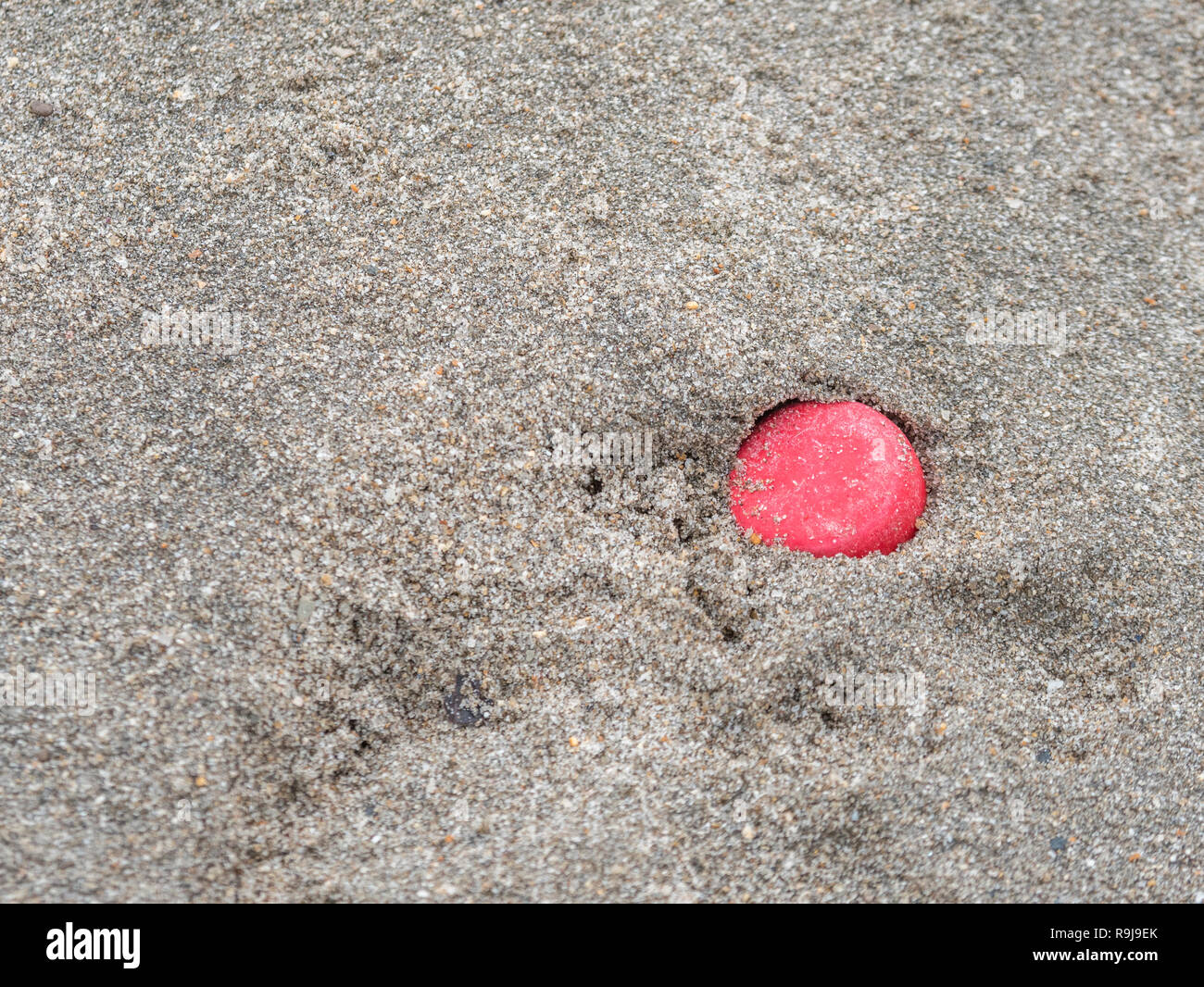 Plastic red bottle cap washed up on shore & polluting shoreline. Metaphor plastic pollution, environmental pollution, war on plastic, plastic rubbish. - Stock Image