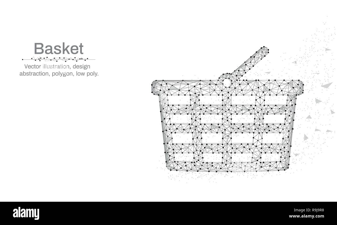 Shopping basket illustration made by points and lines, Low poly blue background, abstract design illustration - Stock Image