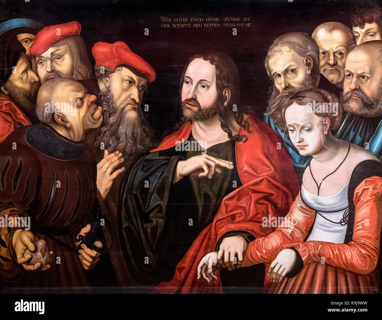 Christ and the Woman Taken in Adultery by follower of Lucas Cranach the Elder (1472-1553), oil on wood, 1531 - Stock Image