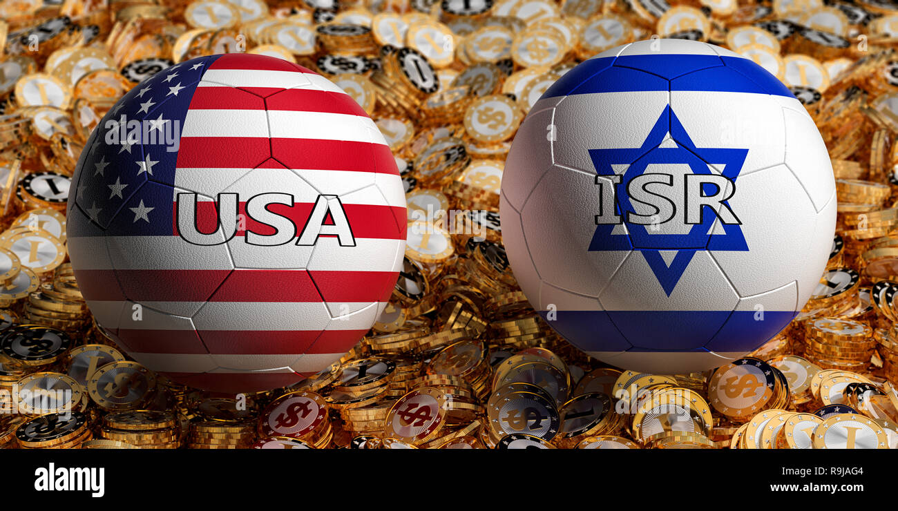 USA vs. Israel Soccer Match - Soccer balls in USA and Israel national colors on a bed of golden dollar coins. 3D Rendering - Stock Image